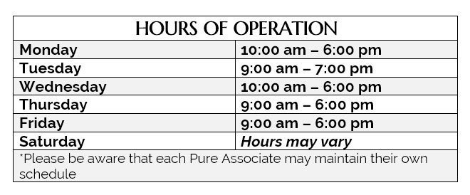 Pure Clinical Skin Care - Hours of operation